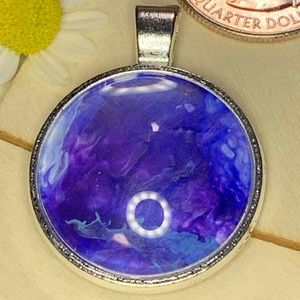Jewelry - Handmade acrylic pour blue and purple pendant